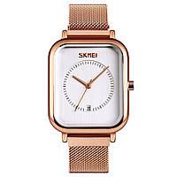 Skmei 9207 золотистые с белым классические наручные часы, фото 1