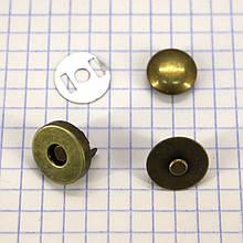 Кнопка магнит 14 мм на заклёпке антик для сумок t5007 (30 шт.)