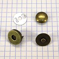 Кнопка магнит 14 мм на заклёпке антик для сумок t5007 (20 шт.)