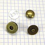 Кнопка магнит 14 мм на заклёпке антик для сумок t5007 (30 шт.), фото 2