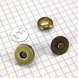 Кнопка магнит 14 мм на заклёпке антик для сумок t5007 (30 шт.), фото 3