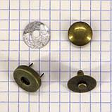 Кнопка магнит 14 мм на заклёпке антик для сумок t5007 (30 шт.), фото 4