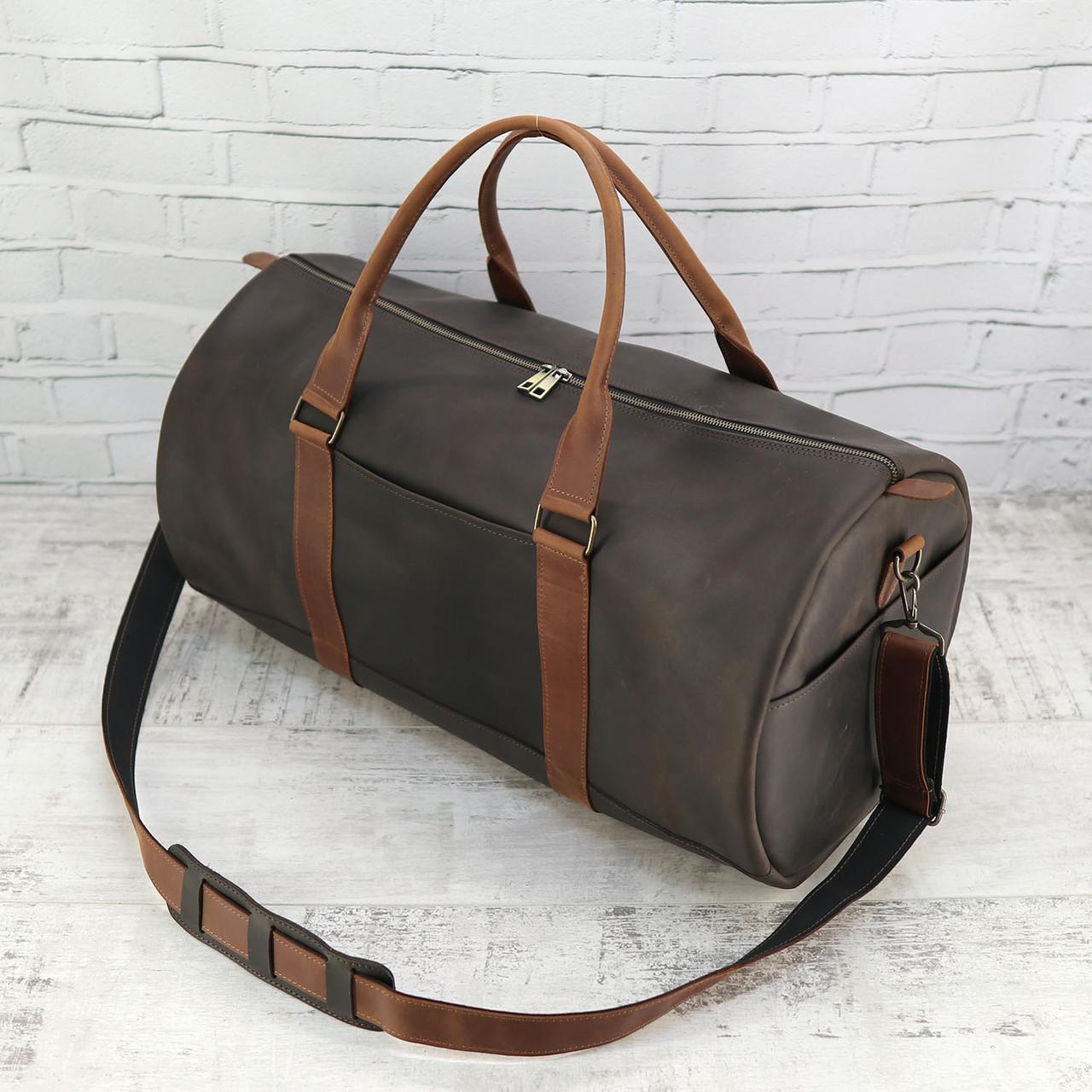 Дорожная сумка Mihey tube коричневая из натуральной кожи crazy horse 1460401