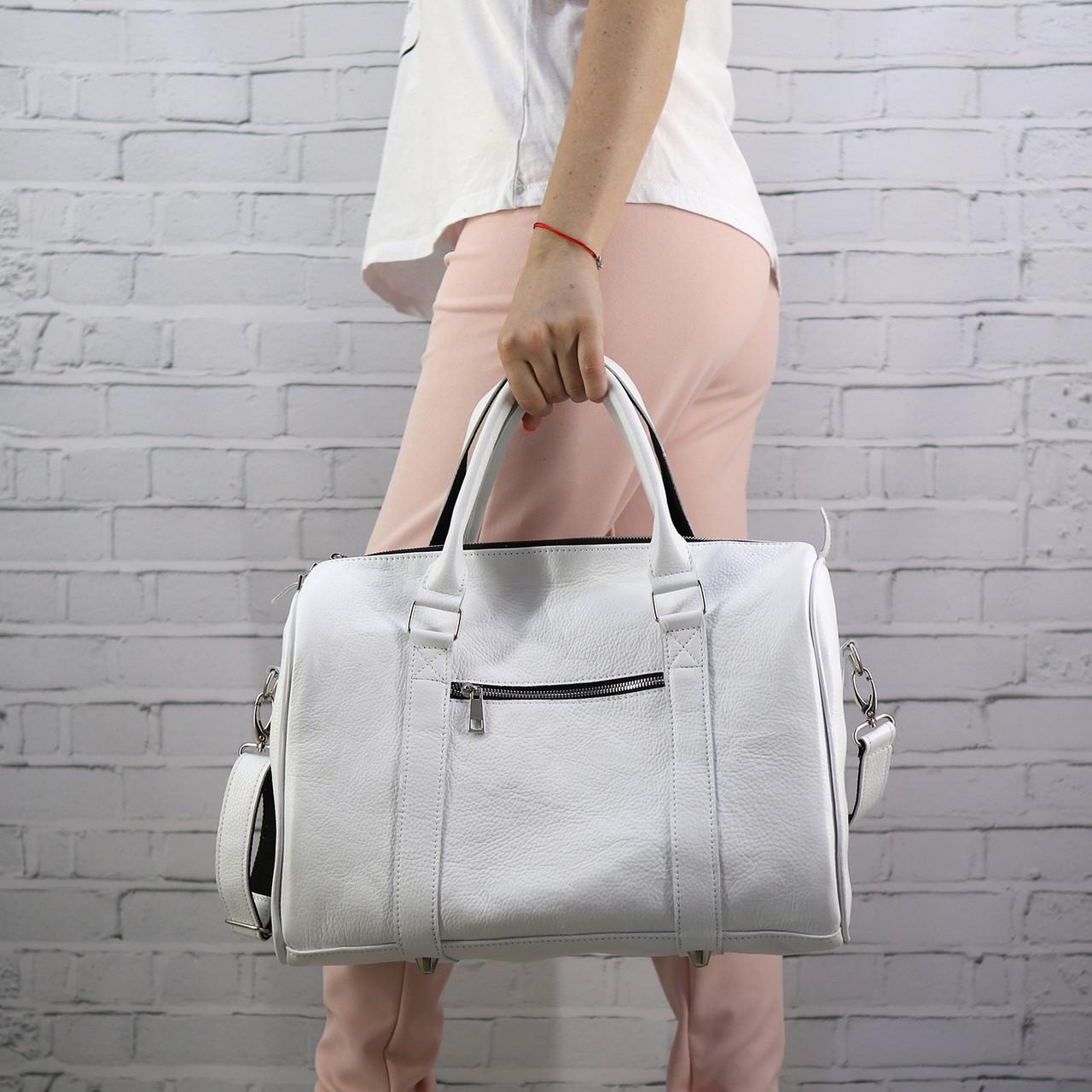 Дорожная сумка louis mini белая из натуральной кожи flotar