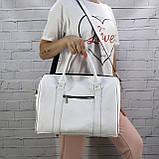 Дорожная сумка louis mini белая из натуральной кожи flotar, фото 3