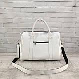 Дорожная сумка louis mini белая из натуральной кожи flotar, фото 4