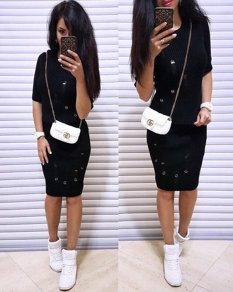 Костюм женский с потертостями кофта с рукавом и юбка карандаш