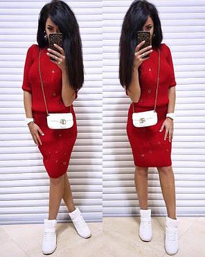 Костюм женский с потертостями кофта с рукавом и юбка карандаш, фото 2