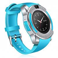 Смарт-годинники наручні Smart Watch V8 Блакитні, Android, 128МБ, камера 1,3 МП, мікрофон