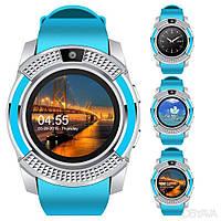 Смарт годинники наручні UWatch Smart V8 Блакитні, Android, 128МБ, камера 1,3 МП, мікрофон