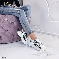 Женские спортивные кроссовки белые с серыми вставками, фото 1
