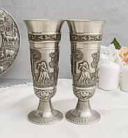 Два оловянных винных бокала, кубка, пищевое олово, Германия, 350 мл охота, фото 1