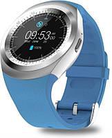Годинники наручні Чоловічі Smart Watch Y1 сині, Micro SD / Bluetooth / Sim, 350мАч, сенсорний TFT дисплей, Смарт годинни