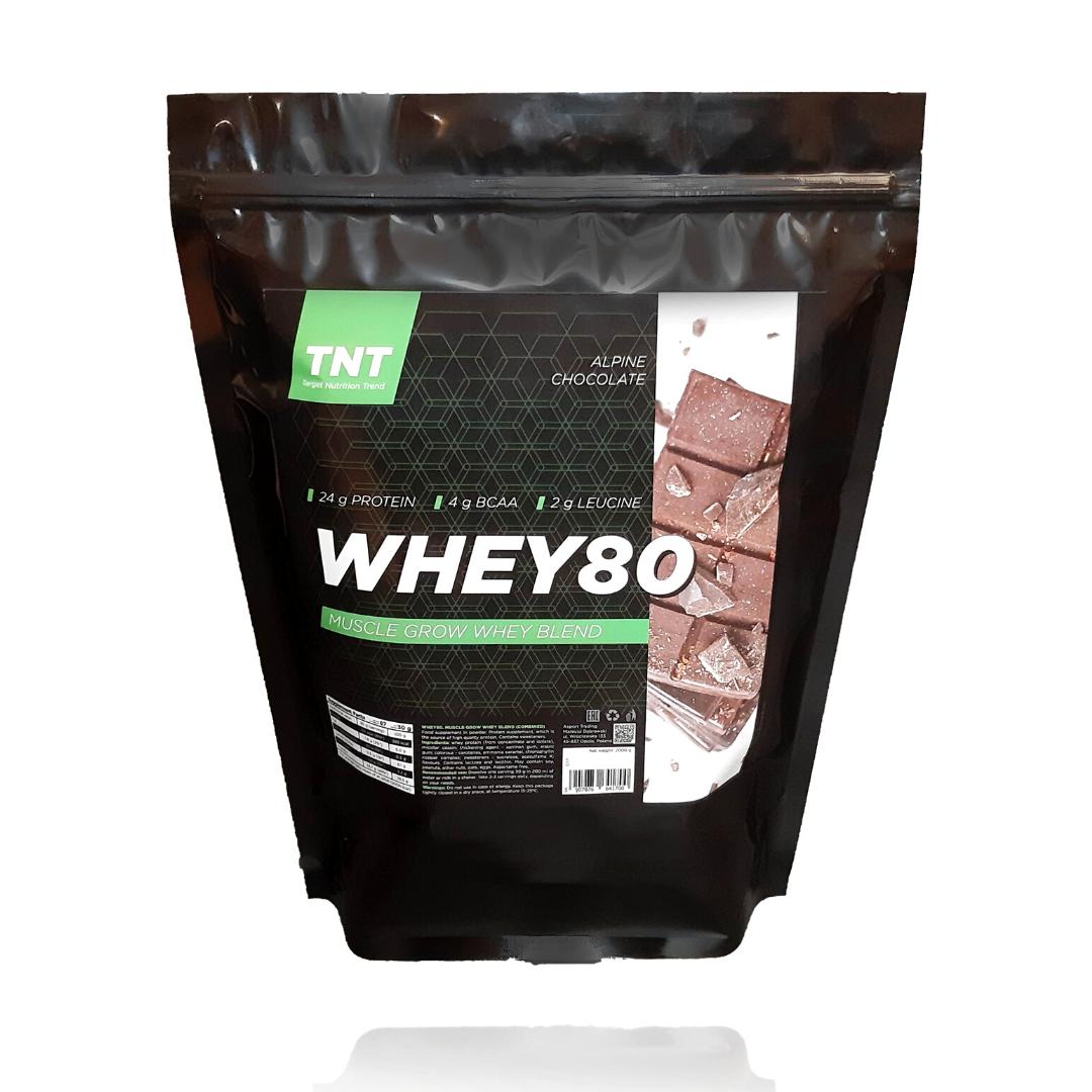 Протеин оригинал Muskle Grow Whey Target Nutrition Trend Poland, 2 кг 80% белка шоколад