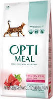 Optimeal Оптимил для взрослых кошек с телятиной 4кг