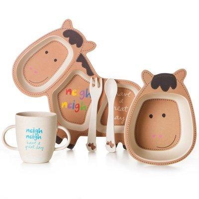Детская бамбуковая посуда Ослик, набор из 2-х тарелок, чашки, ложки и вилки BP13 Donkey SKL25-149792
