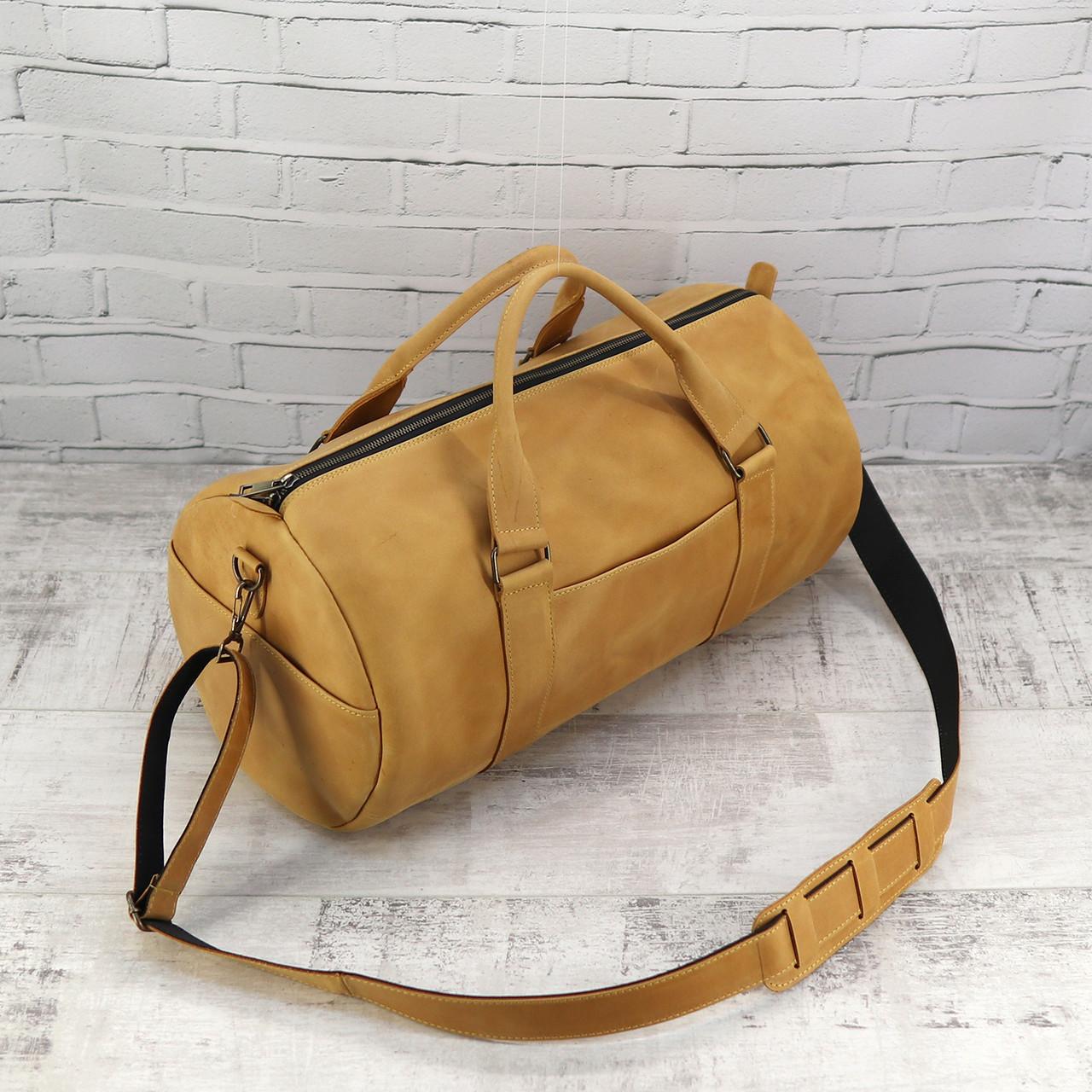 Дорожная сумка Mihey tube mini желтая из натуральной кожи crazy horse 1470407