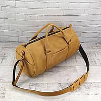 Дорожная сумка Mihey tube mini желтая из натуральной кожи crazy horse 1470407, фото 1