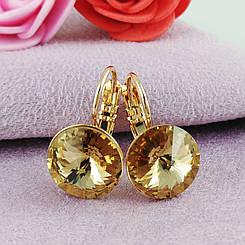 Серьги SW Топаз медицинское золото позолота 18К французский замок А/В 7-0038