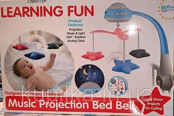 Музыкальная карусель на кроватку для малышей с проектором 35614 с пультом дистанционного управления
