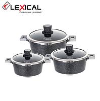Набор кастрюль LEXICAL LM-220601-1 антипригарное мраморное покрытие, 3 кастрюли 20/24/28 см (6 предметов), фото 1