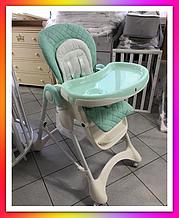 Детский стульчик для кормления с регулируемой спинкой, чехол ECO кожа, Carrello Caramel CRL-9501/3 Голубой