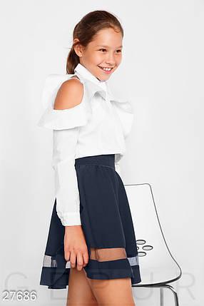 Однотонная школьная рубашка белого цвета на девочку, фото 2
