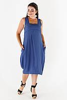Льняное платье-бочка большого размера. Размеры: 46,48,50,52,54