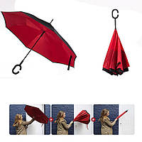 Зонт обратного сложения Up-Brella красный, фото 1