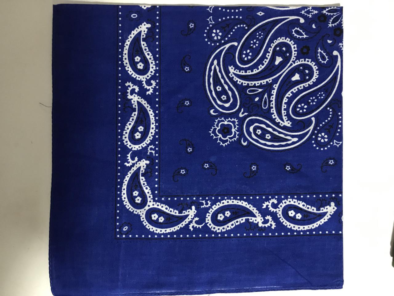 Голубая бандана - платок классический рисунок