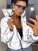 Куртка светоотражающая неоновая женская  холофайбер  серый эснежинки-синий черный серебро Фабричный Китай