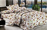 Евро комплект двухспального постельного белья в нежном цветочном дизайне