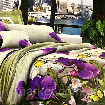 """Постільна білизна """"Квіти"""" бязева двоспальне 170/210, нав-ки 70/70, тканина бязь"""