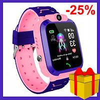 Детские Умные Смарт Часы Телефон c LBS Baby Smart Watch Q12 (S12) розовые, водонепроницаемые с камерой