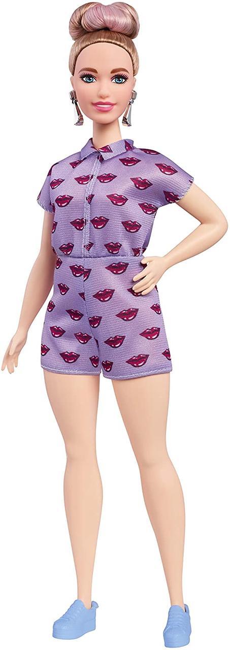 Оригинальная Пышная Барби в лавандавам ромпере с поцелуйчиками (FJF40) (887961534870)