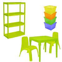 Комплект детской мебели Малыш 8 стол + 2 стула + стеллаж + 4 емкости для игрушек 18-100-39, КОД: 1130301