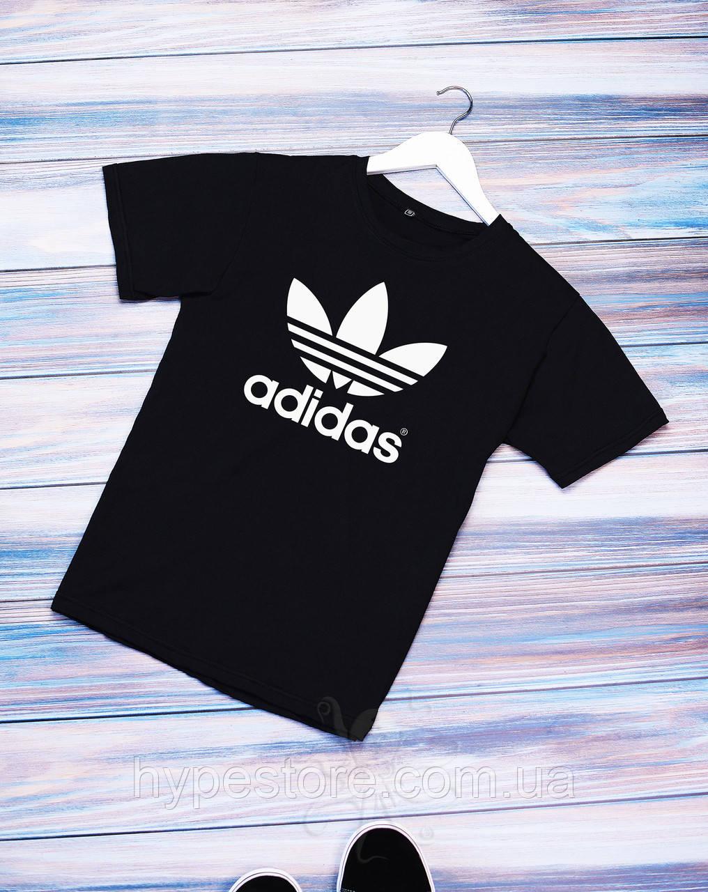 Мужская черная футболка, чоловіча футболка в стиле Adidas, РАСПРОДАЖА!