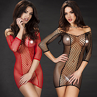 Эротическое белье. Эротическое платье сетка. Нижнее белье. Пеньюар. Боди. (44 размер размер М) черное