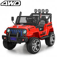 Детский электромобиль Машина Джип Jeep Wrangler красный для мальчика девочки 3 4 5 6 7 8 лет полный привод