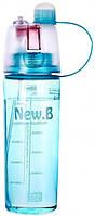 Бутылка для воды DF-078 с распылителем 600 мл  синий, фото 1