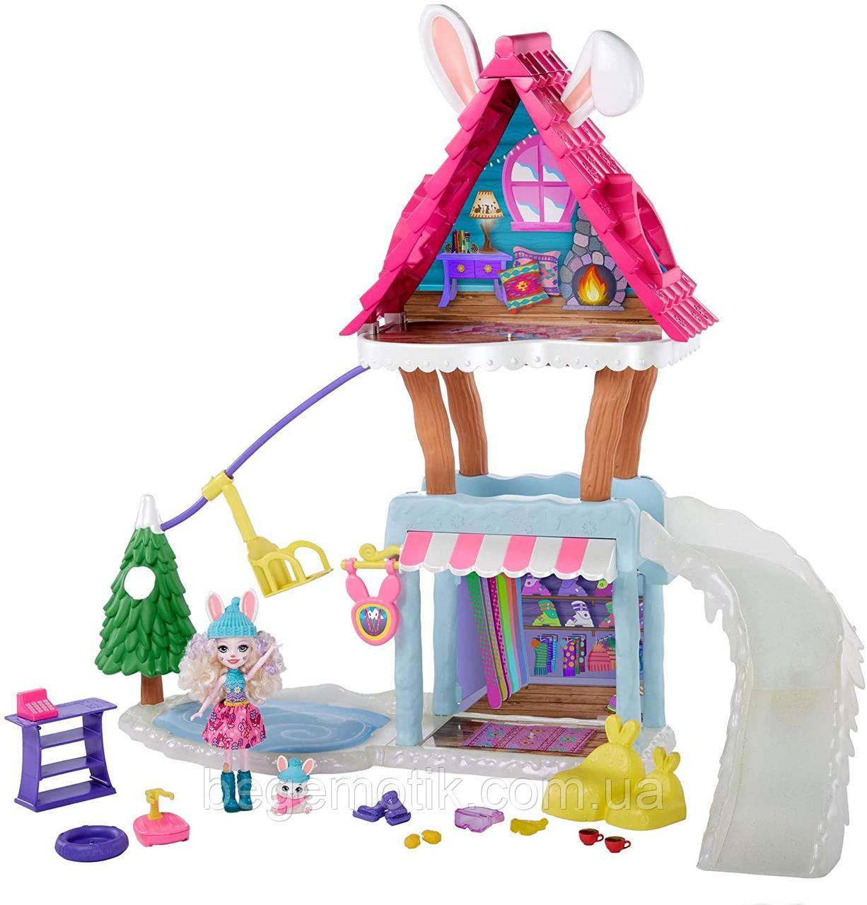 Игровой набор Enchantimals Лыжный ШАЛЕ Энчантималс дом зимнего кролика  BEVY BUNNY & JUMP DOLLS
