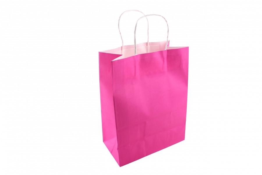 Подарочный пакет однотонный вертикальный малиновый 26*14*34 (3-2629)