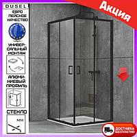 Душевая кабина квадратная 100х100 см двери раздвижные Dusel EF-184B Black Matt черный профиль