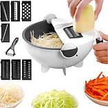 Многофункциональная терка овощерезка Portables Wet Basket Vegetable Cutter с контейнером для промывания овощей, фото 9