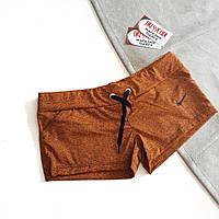 Шорты короткие оранжевые меланж на поясе-шнурке с черной эмблемкой найка