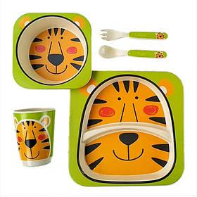 """Посуда детская бамбук """"Тигр"""" 5пр/наб (2тарелки, вилка, ложка, стакан)"""