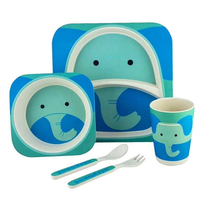 """Посуда детская бамбук """"Слон"""" 5пр/наб (2тарелки, вилка, ложка, стакан)"""