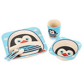 "Посуда детская бамбук ""Пингвин"" 5пр/наб (2тарелки, вилка, ложка, стакан)"