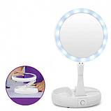 Складное косметическое зеркало для макияжа круглое увеличительное, фото 3
