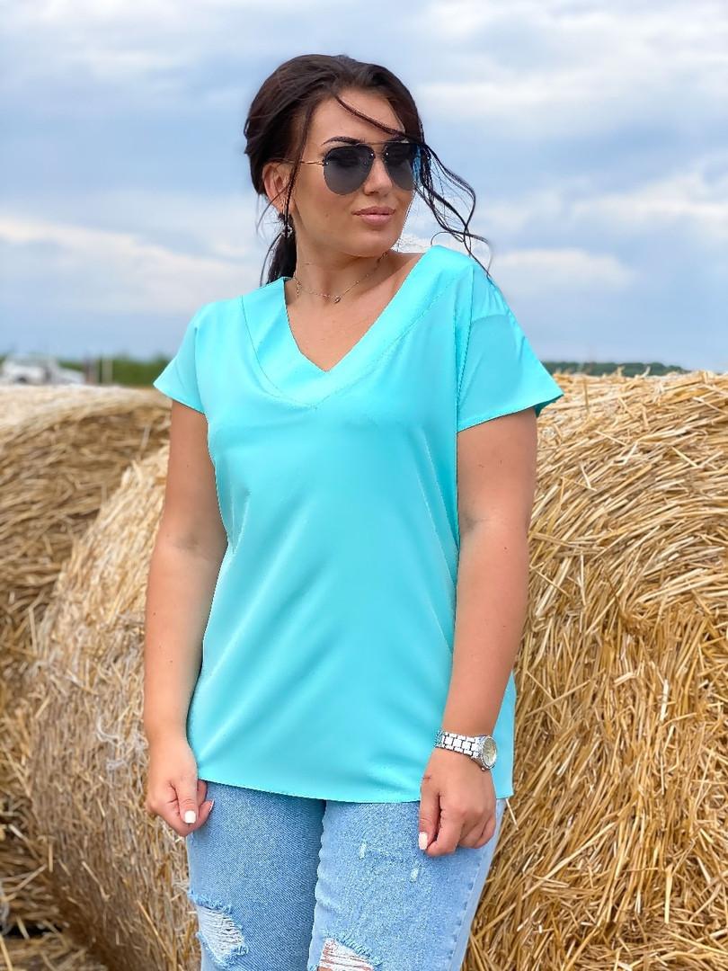 Легкая удобная женская блузка  цвет ментол